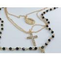 Collana Rosario 3 fili color oro e grani neri con doppia croce e medaglietta