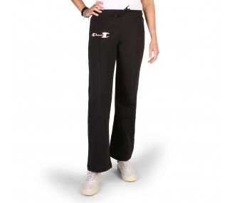 pantaloni tuta donna champion 112149 nero in cotone 100%