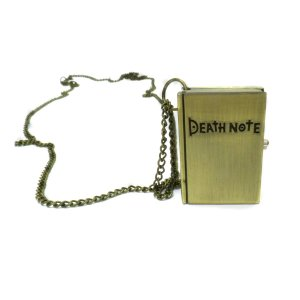 Collana con pendente orologio a forma di Quaderno DEATH NOTE color bronzo
