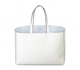 Borsa shopping bag donna made in italia lucrezia colore bianco